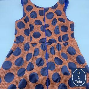 Anthropologie Maeve Orange Dress Blue Dots Sz 12P